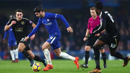 Alvaro Morata of Chelsea in action against Leicester