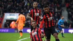 Jordon Ibe celebrates after scoring for Bournemouth.