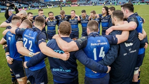 Leinster huddle together after their victory