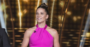 Amanda Byram went with a jumpsuit for Dancing with the Stars.