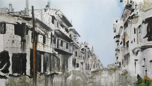 Brian Maguire  Aleppo 4 2017 acrylic on linen 200 x 400 cm 78.7 x 157.5 in    Photo: Guy Hassert Image courtesy the artist and Fergus McCaffrey, New York & Tokyo