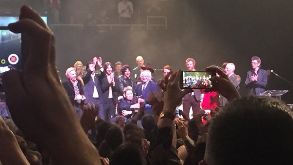 Shane MacGowan receives the National Concert Hall's Lifetime Achievement Award from President Michael D Higgins Photo: Sinéad Crowley