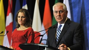Canadian Foreign Minister Chrystia Freeland and US Secretary of State Rex Tillerson at meeting on Security and Stability on Korean Peninsula