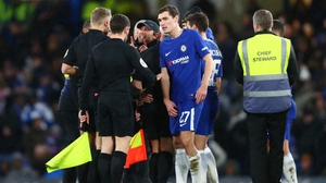 Conte argues with officials after the final whistle