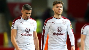 Jon Walters (L) with Jeff Hendrick after Burnley's St Stephen's Day draw at Old Trafford