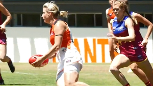 Staunton kicked a goal for GWS Giants in the first round of the AFLW season.