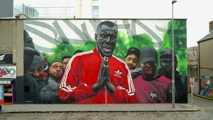 SUBSET's mural of Grime superstar Stormzy, in Dublin's Smithfield district.