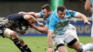 Cian Healy and Robbie Henshaw in action in the Champions Cup.