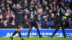 Hazard celebrates after scoring his second goal against Brighton