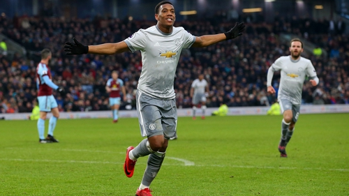 Anthony Martial celebrates what proved to be the match winner at Turf Moor