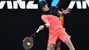 Kyle Edmund hits a return against Italy's Andreas Seppi