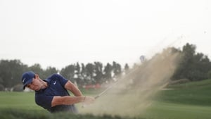 Rory McIlroy in action at the Abu Dhabi HSBC Championship