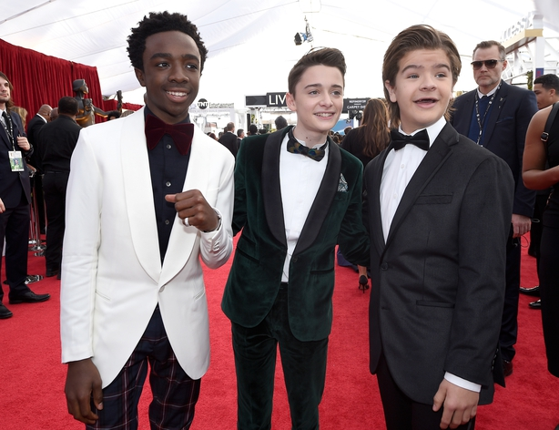 Actors Caleb McLaughlin (L), Noah Schnapp; and Gaten Matarazzo attend the 24th Annual Screen Actors Guild Awards at The Shrine Auditorium on January 21, 2018 in Los Angeles, California