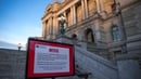 A closed sign in front of the Library of Congress in Washington as the government shutdown continues