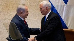 Mike Pence greets Israeli Prime Minister Benjamin Netanyahu at the Knesset