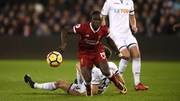 Sadio Mane is almost through on goal in tonight's Premier League game between Swansea and Liverpool
