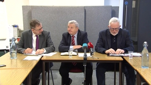 (L-R) Eamon Ó Cuív, Peter Bunting and Conal McFeely at the press conference in Belfast