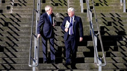Paraic Duffy (L) and GAA president Aogán Ó Fearghaíl presented their final report together today