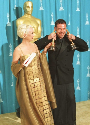 Lizzy Gardiner in a dress made of American Express Credit Cards in 1995.