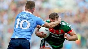 Dublin's Ciaran Kilkenny tangles with Mayo's Aidan O'Shea in the 2017 All-Ireland SFC final