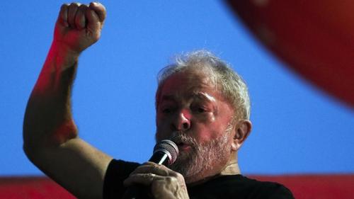 Luiz Inacio Lula da Silva speaking at a rally in 2018