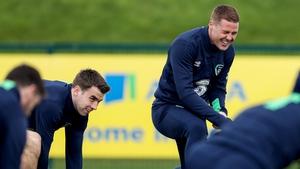 Coleman and McCarthy share a joke at Ireland training