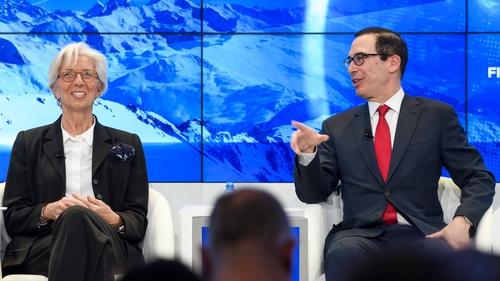 IMF chief Christine Lagarde and US Treasury Secretary Steven Mnuchin discuss bitcoin at Davos