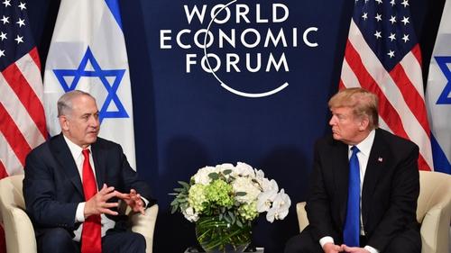 Benjamin Netanyahu and Donald Trump meet at the WEF