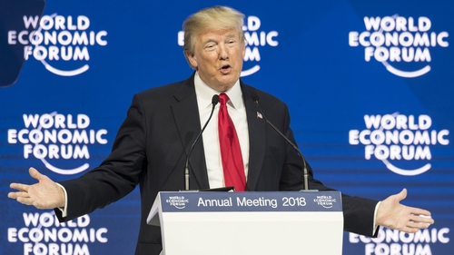 Donald Trump speaking at the World Economic Forum in Davos