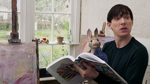 Domhnall Gleeson with Peter Rabbit