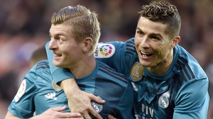 Toni Kroos (L) celebrates with Cristiano Ronaldo