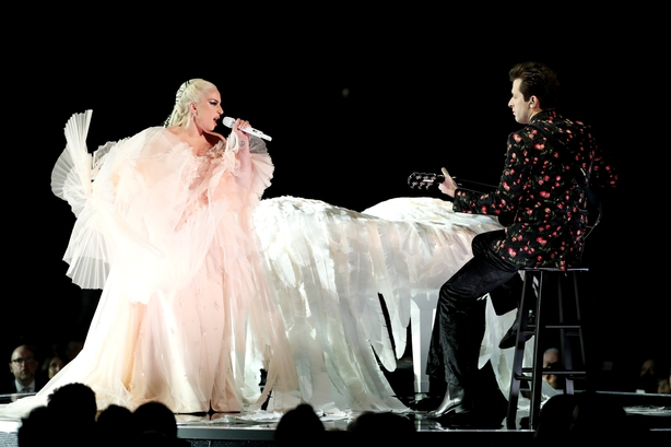 Lady Gaga and Mark Ronson perform at the Grammys in Madison Square Garden