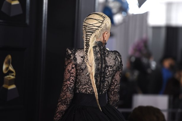 A look at the detail in Gaga's corset braid