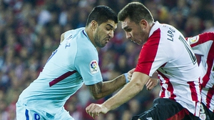Aymeric Laporte (R) is heading for Manchester