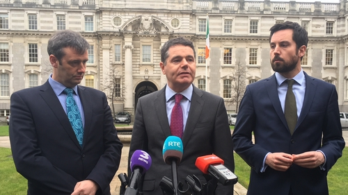 Ministers Michael D'Arcy, Paschal Donohoe and Eoghan Murphy at Leinster House