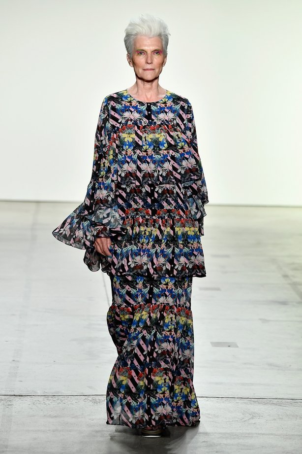 Maye Musk Project Runway fashion show during New York Fashion Week