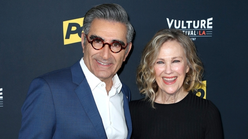 Catherine O'Hara with Schitt's Creek co-star Eugene Levy