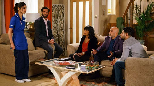 Rana is horrified when Zeedan forces her to confess her affair to her family on Coronation Street