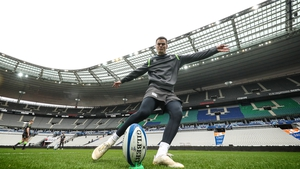 Jonathan Sexton getting in some kicking practice at the Stade de France