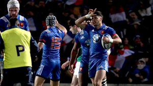 France out-half Romain Ntamack celebrates on his two first-half tries