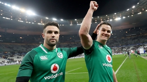 Conor Murray and Johnny Sexton after the game in Paris
