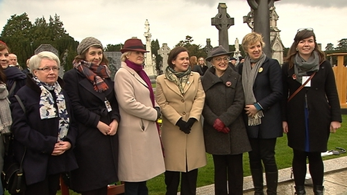 A small crowd, including politicians and trade unionists, gathered at her grave in Glasnevin Cemetery to hear tributes