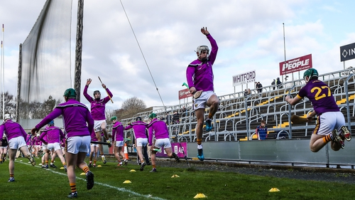 Wexford warming up before their clash with Cork