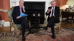 Michel Barnier (l) and David Davis have been meeting in Downing Street