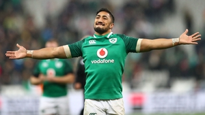 Bundee Aki celebrates at the full-time whistle in Paris