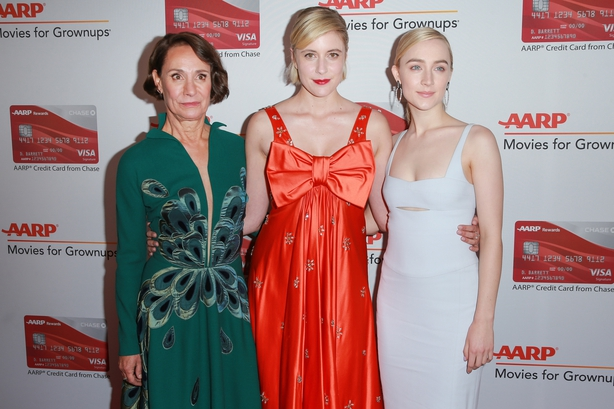 Laurie Metcalf, Greta Gerwig and Saoirse Ronan attend AARP's 17th Annual Movies For Grownups Awards