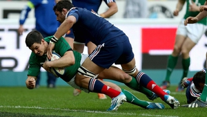 Ireland's Jonathan Sexton scores a try against France in 2014