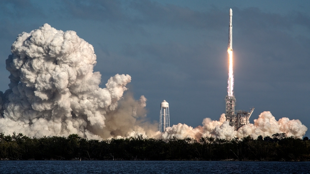 The Falcon Heavy lifts off from the launch pad at Cape Canaveral