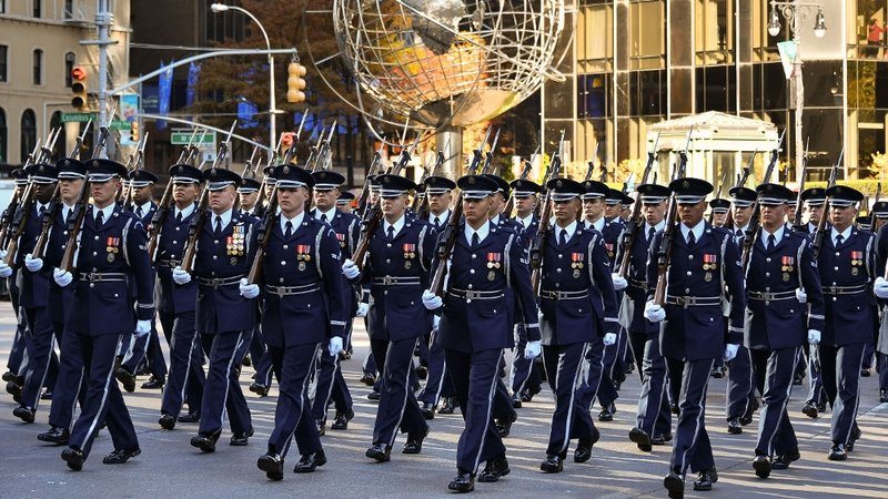 Planning for large scale us military parade under way members of the us air force march in the 91st annual macys thanksgiving day parade in publicscrutiny