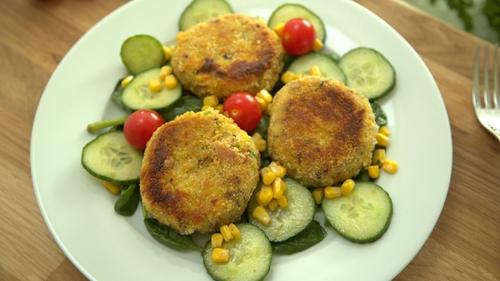 Pork Potato Cakes and Spinach Salad